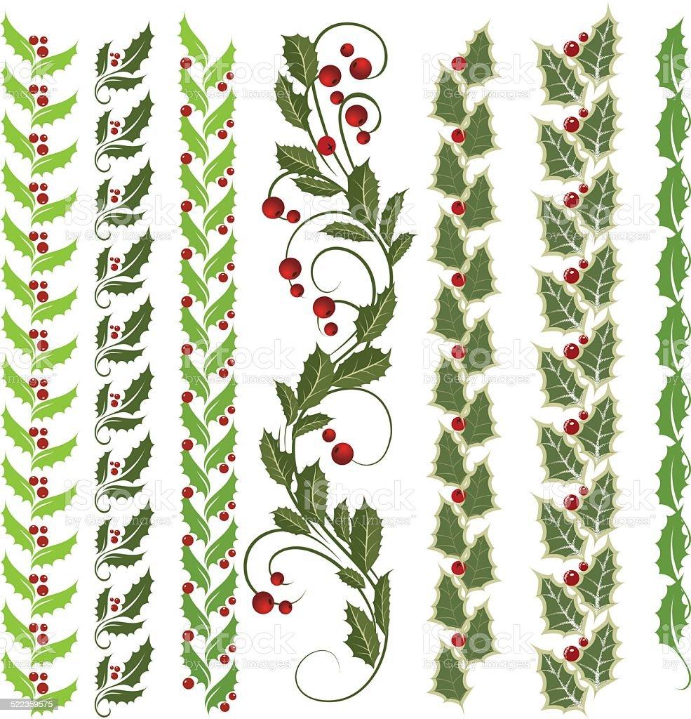 Holly ornament vector art illustration