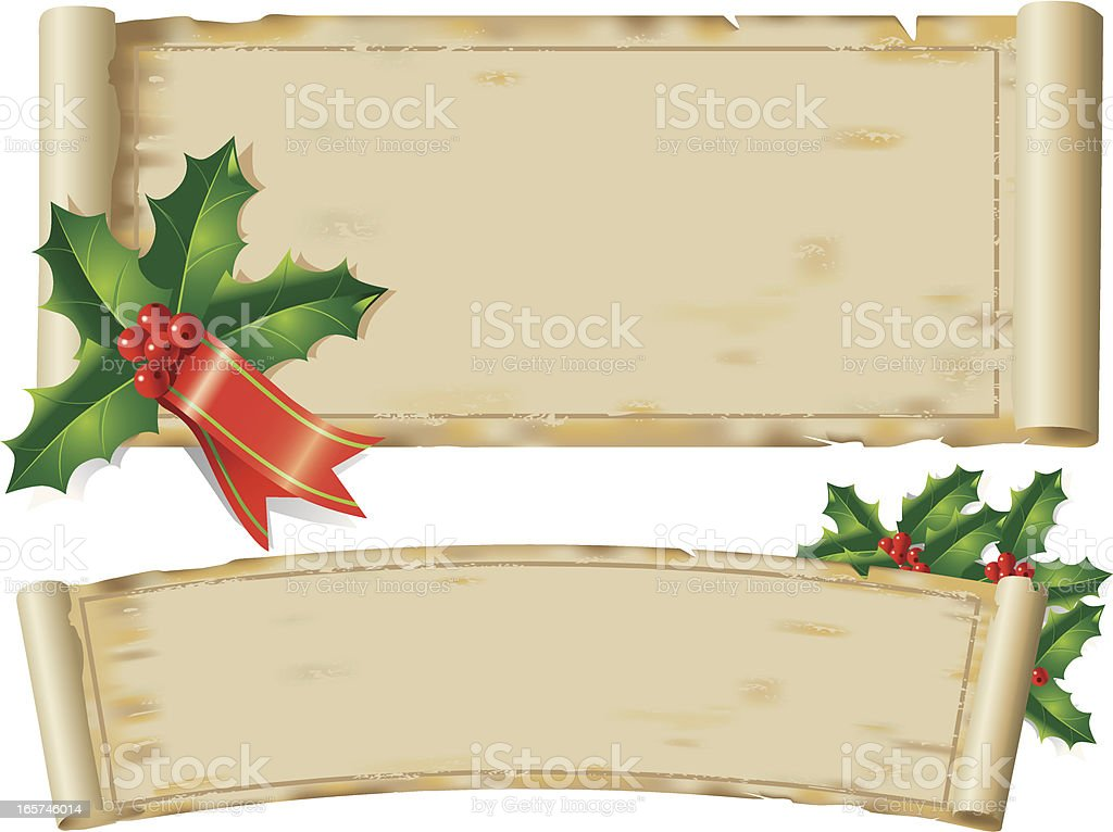 Holly Parchment vector art illustration
