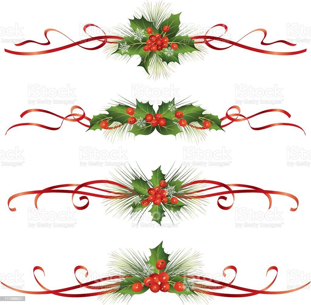 Holly Sprigs and Berries Dividers with Red Ribbon Bows royalty-free stock vector art