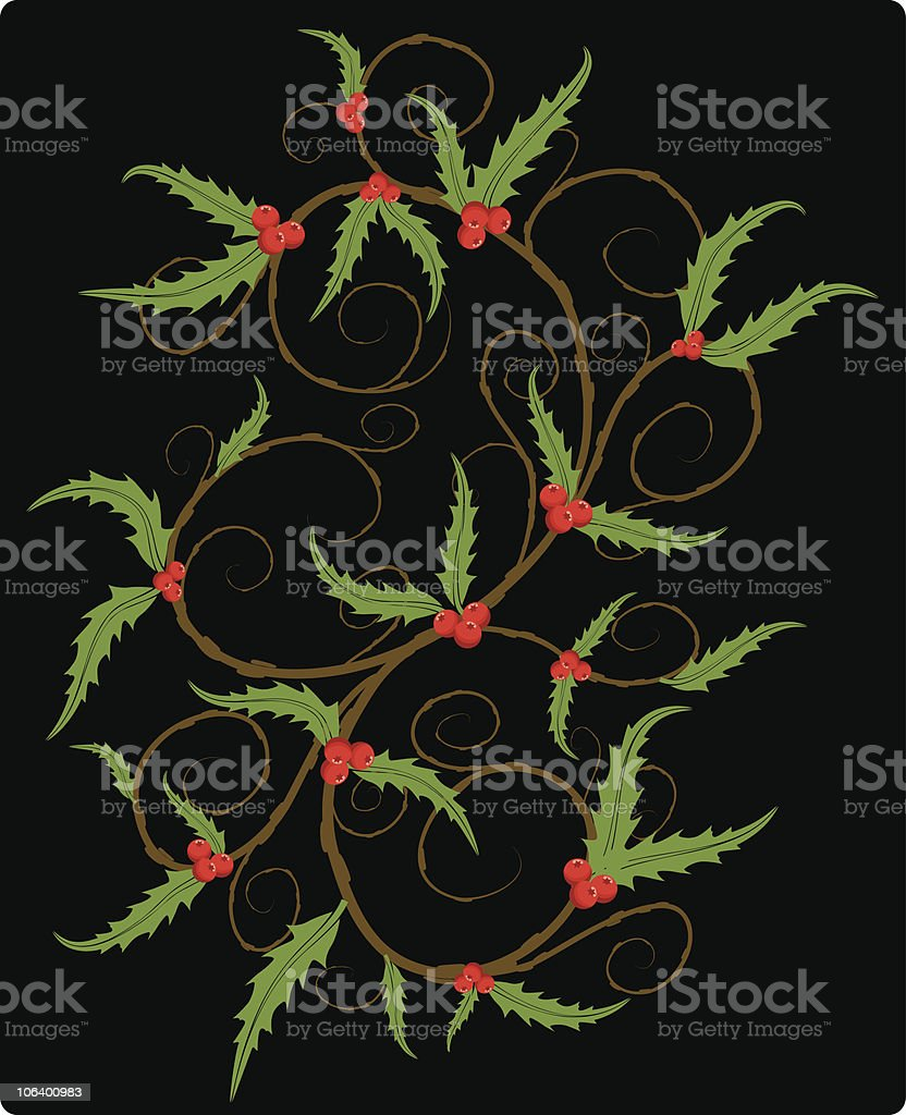 holly swirls royalty-free stock vector art