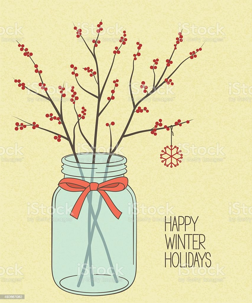 Holly twigs in Mason jar vector art illustration
