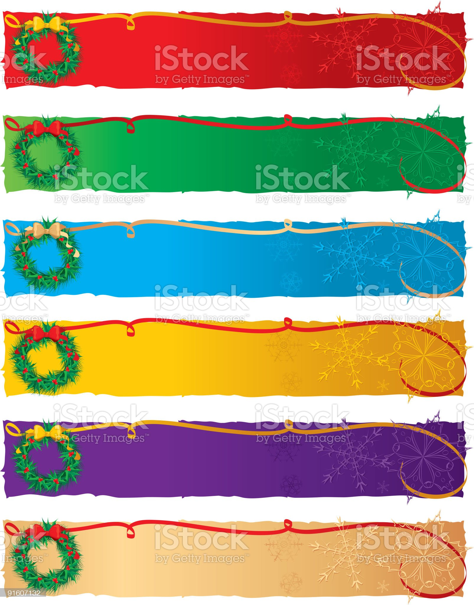 Holly Wreath Banners royalty-free stock vector art