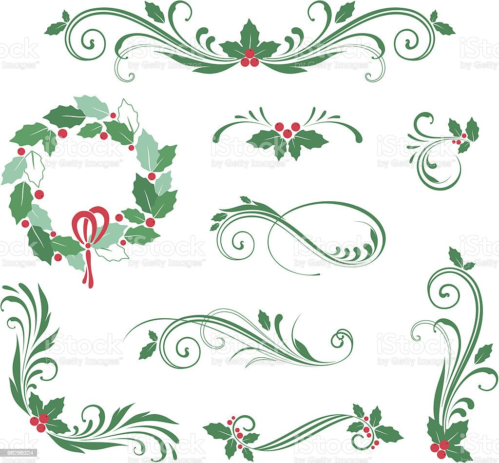 holly_scroll_set royalty-free stock vector art
