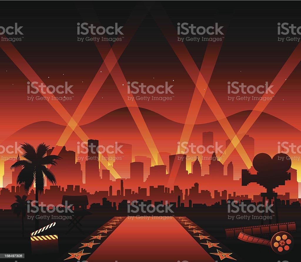 Hollywood cinema movie elements vector art illustration