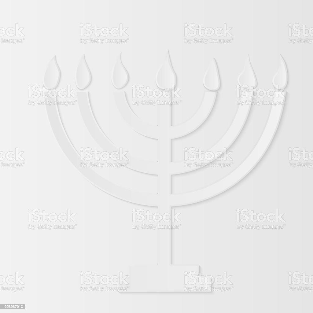 Holocaust Remembrance Day, paper menorah. Vector illustration vector art illustration