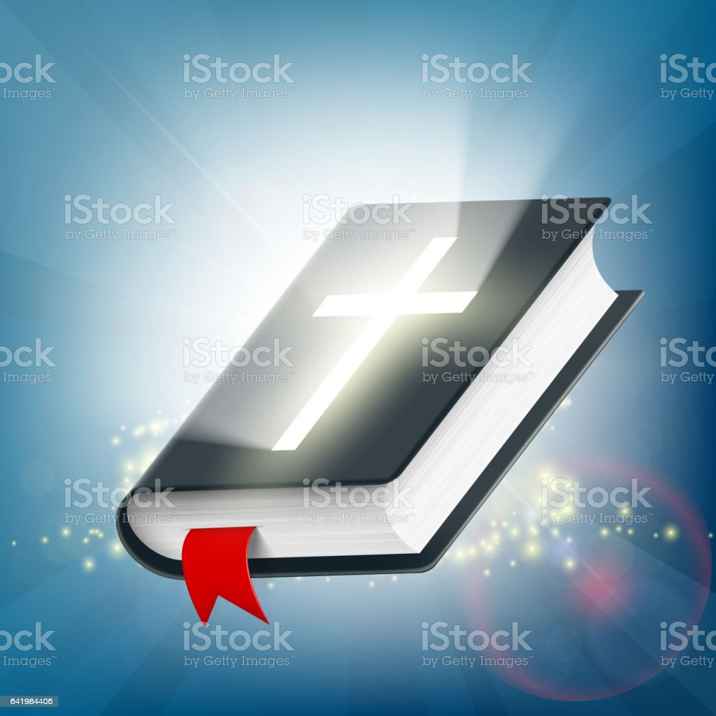 Holy Bible on the background of light rays. Symbol of religion. vector art illustration