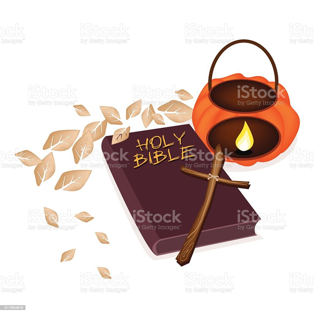 Holy Bible with Wooden Cross and Pumpkin Lantern vector art illustration