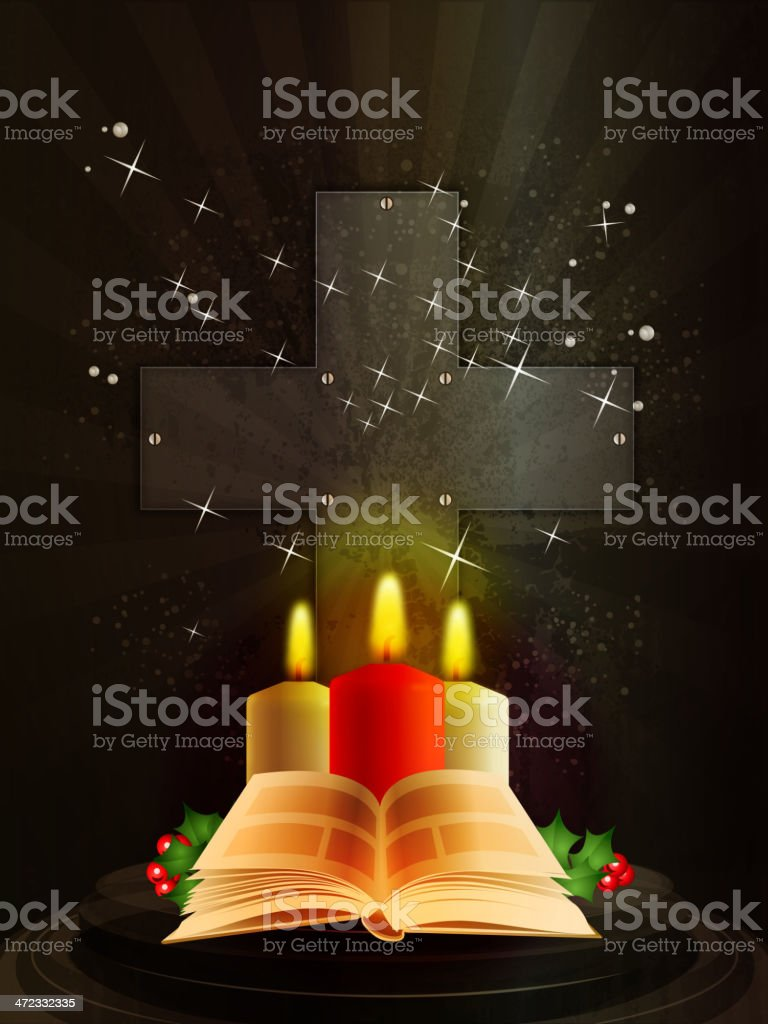 Holy Book with Candles royalty-free stock vector art