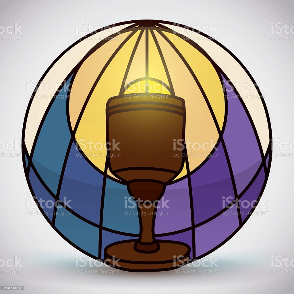 Holy Chalice in Stained Glass Style vector art illustration