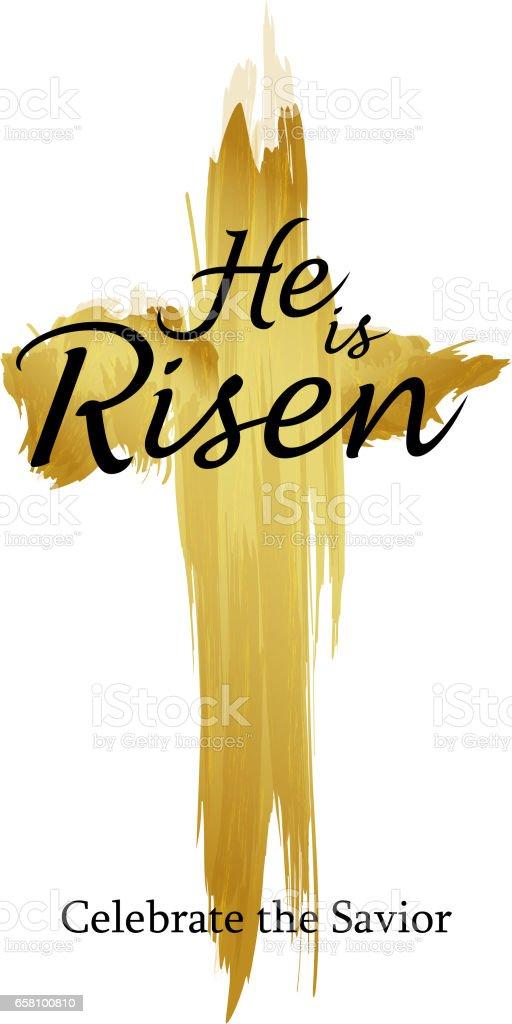 Holy Cross He is Risen vector art illustration