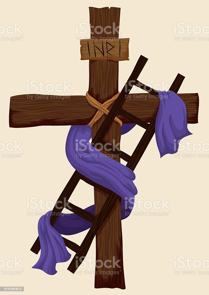Holy Cross, Ladder and Fabric for Deposition of Christ vector art illustration