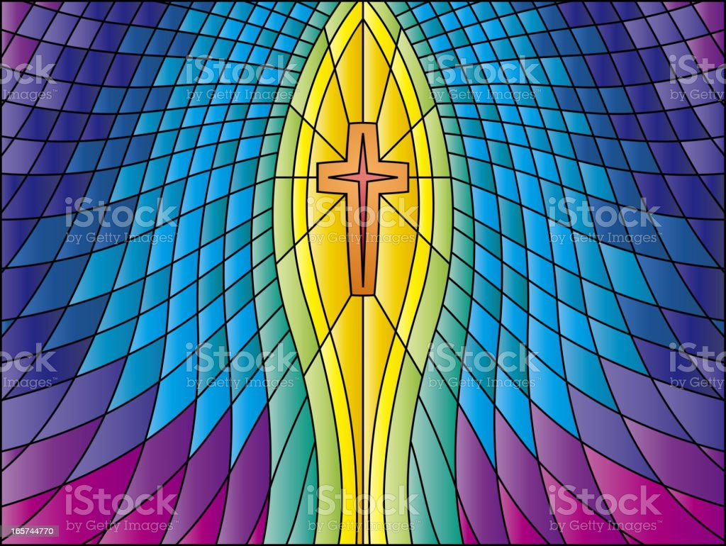 Holy Cross Stained Glass vector art illustration