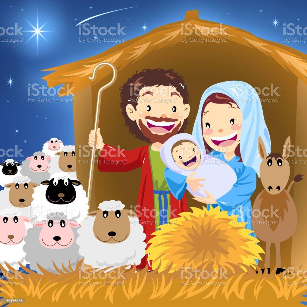 Holy family vector art illustration