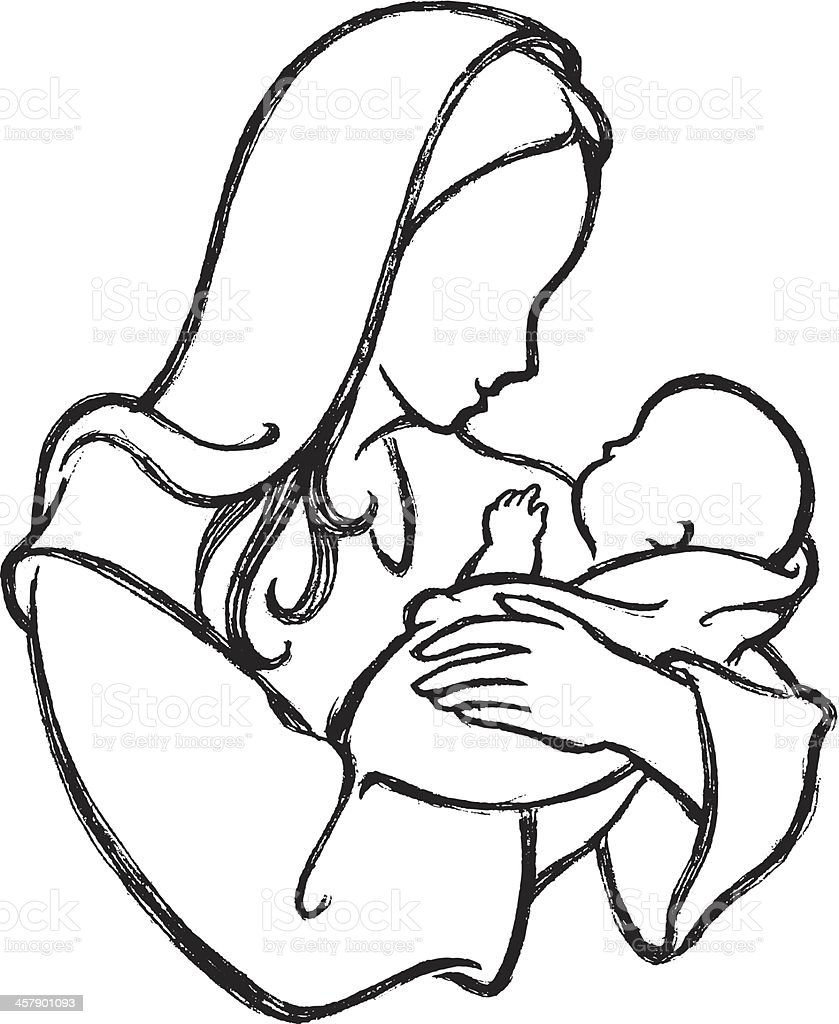 Holy Mother and Child royalty-free stock vector art