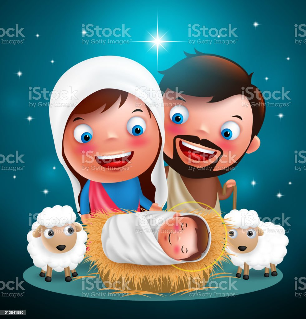 Holy night jesus born in manger vector characters for christmas vector art illustration