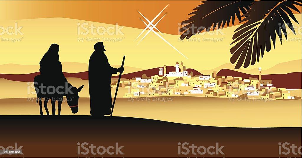 Holy night, way to Bethleham vector art illustration
