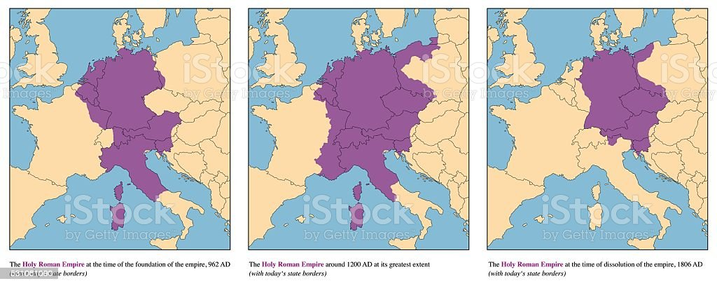 Holy Roman Empire History Map Rise And Fall vector art illustration