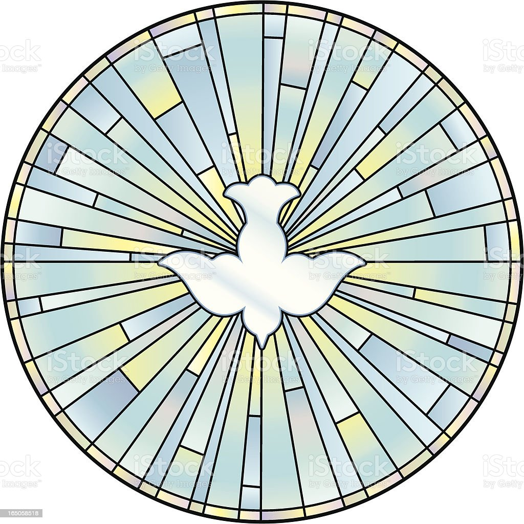 Holy Spirit Stained Glass Window vector art illustration