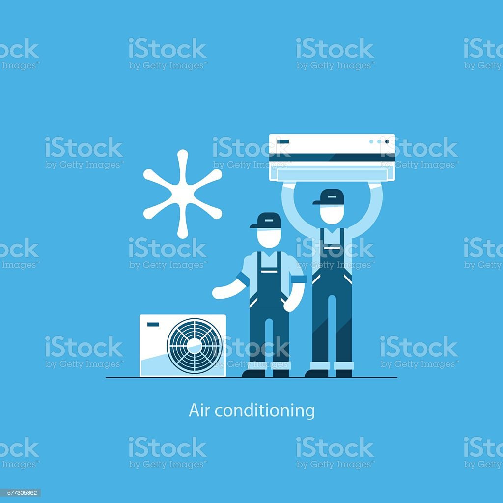 Home air conditioning service, climate control concept vector art illustration