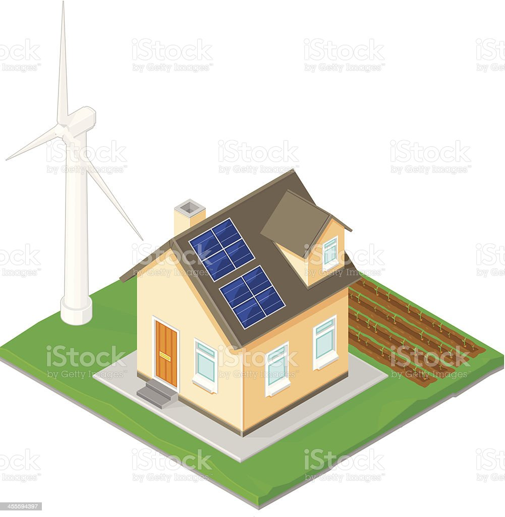 Home Alternative Energy with wind and solar power royalty-free stock vector art