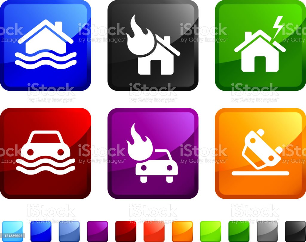 Home and Auto Insurance royalty free vector icon set vector art illustration