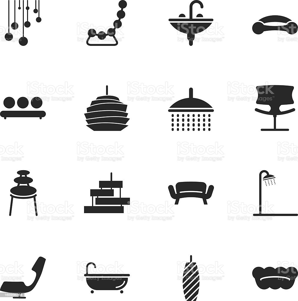 Home and Decor Silhouette Icons royalty-free stock vector art