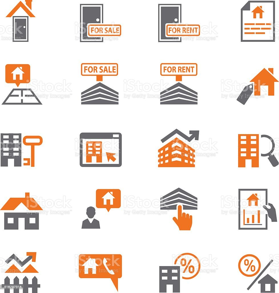 Home and finance icon set vector art illustration