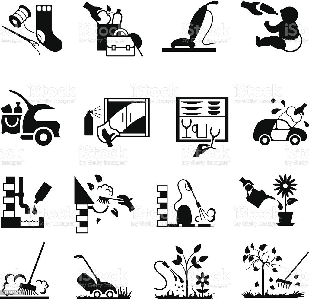 Home and Garden Housework Icons vector art illustration
