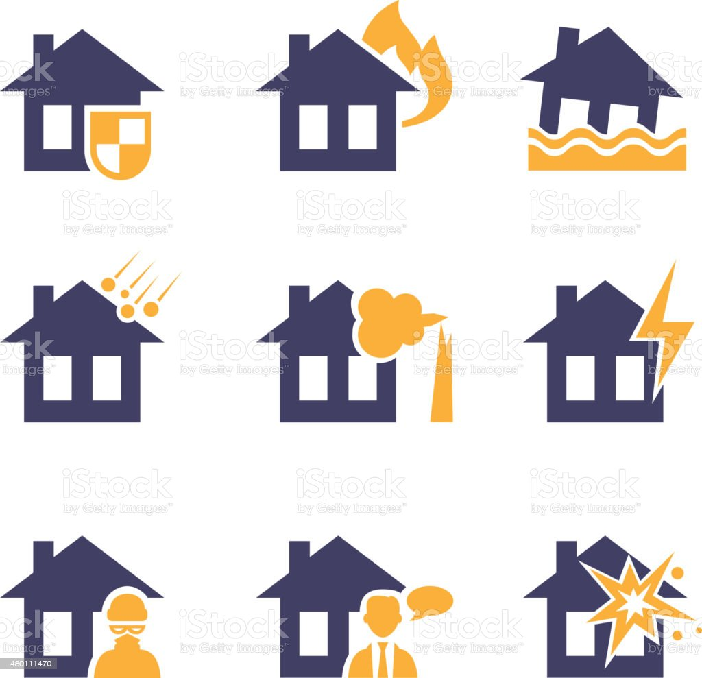 Home and House Insurance Risk Icons vector art illustration