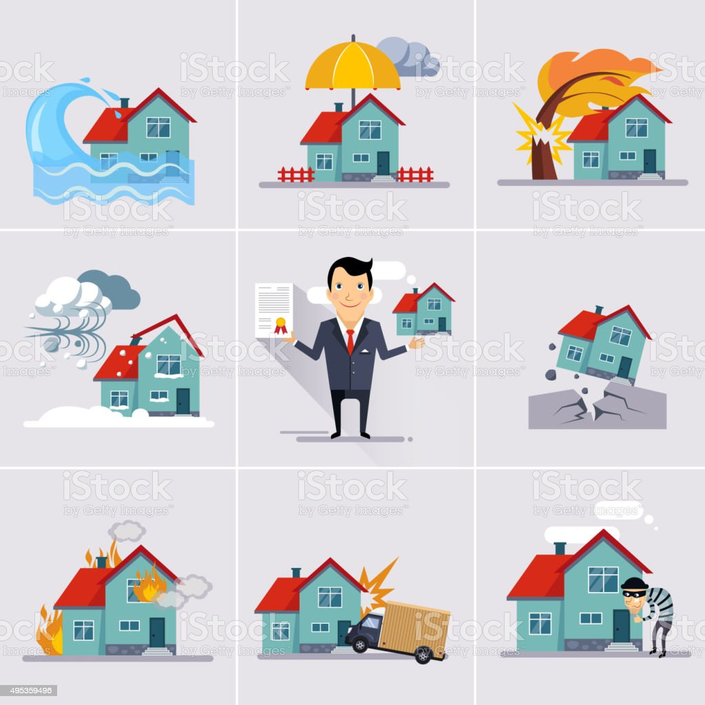 Home and House Insurance vector art illustration