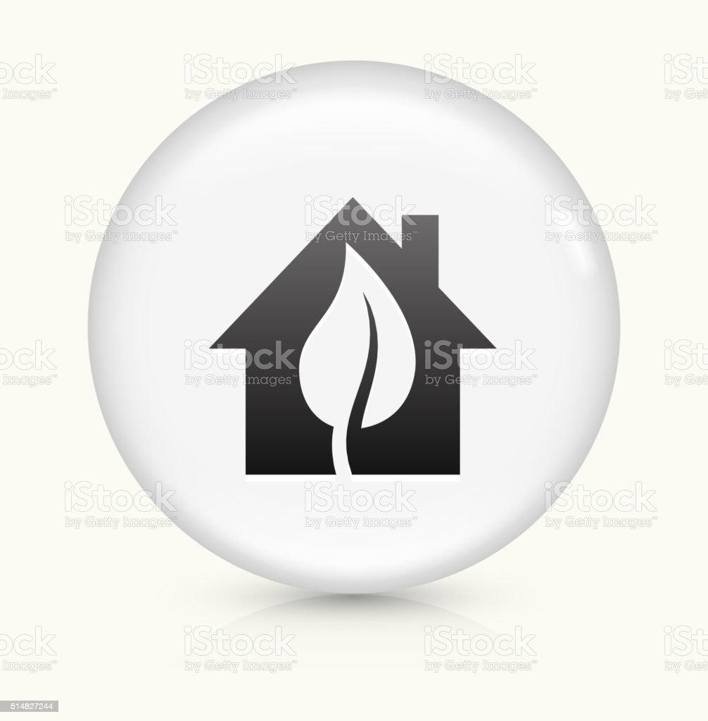 Home and Leaf icon on white round vector button vector art illustration