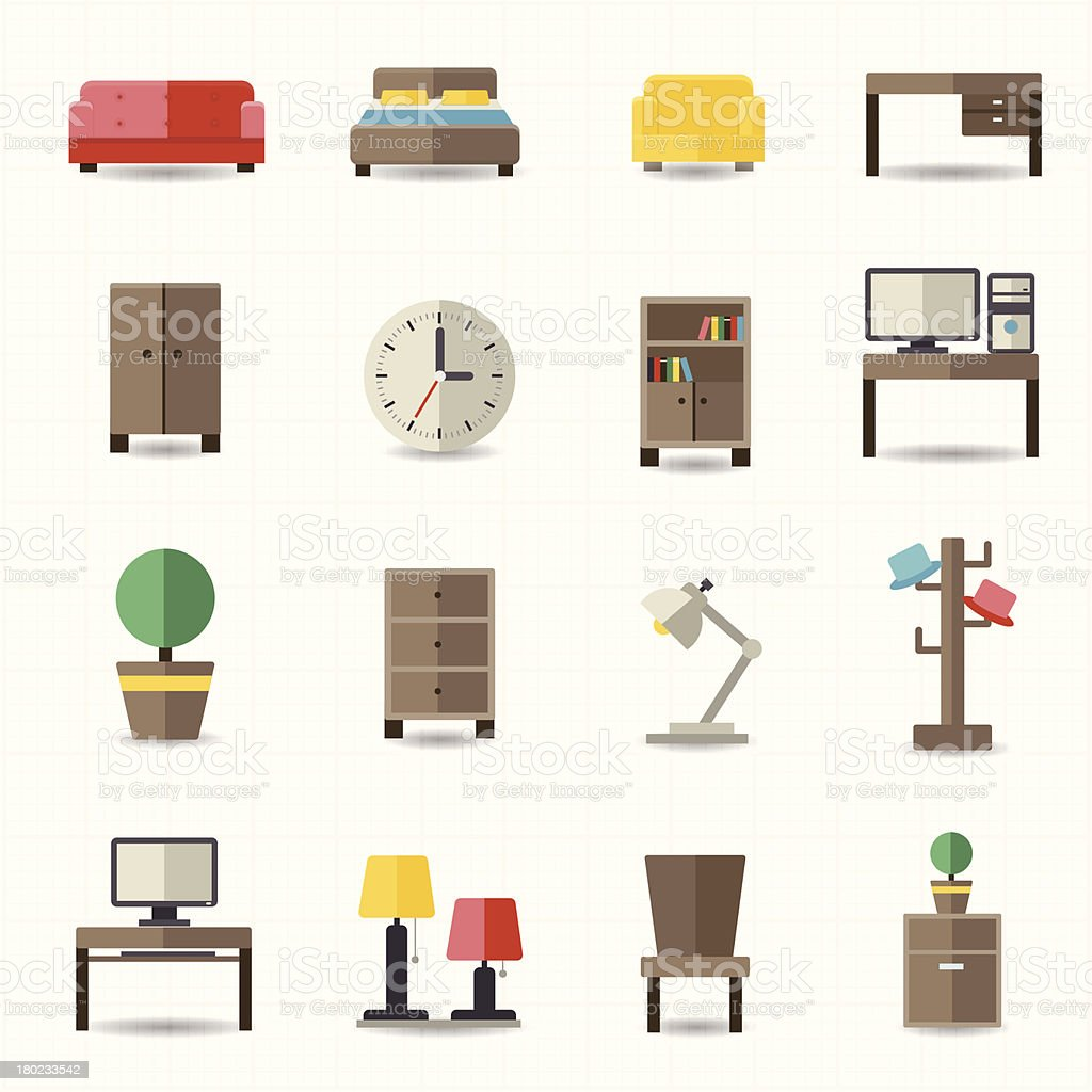 Home and office furniture interiors vector art illustration