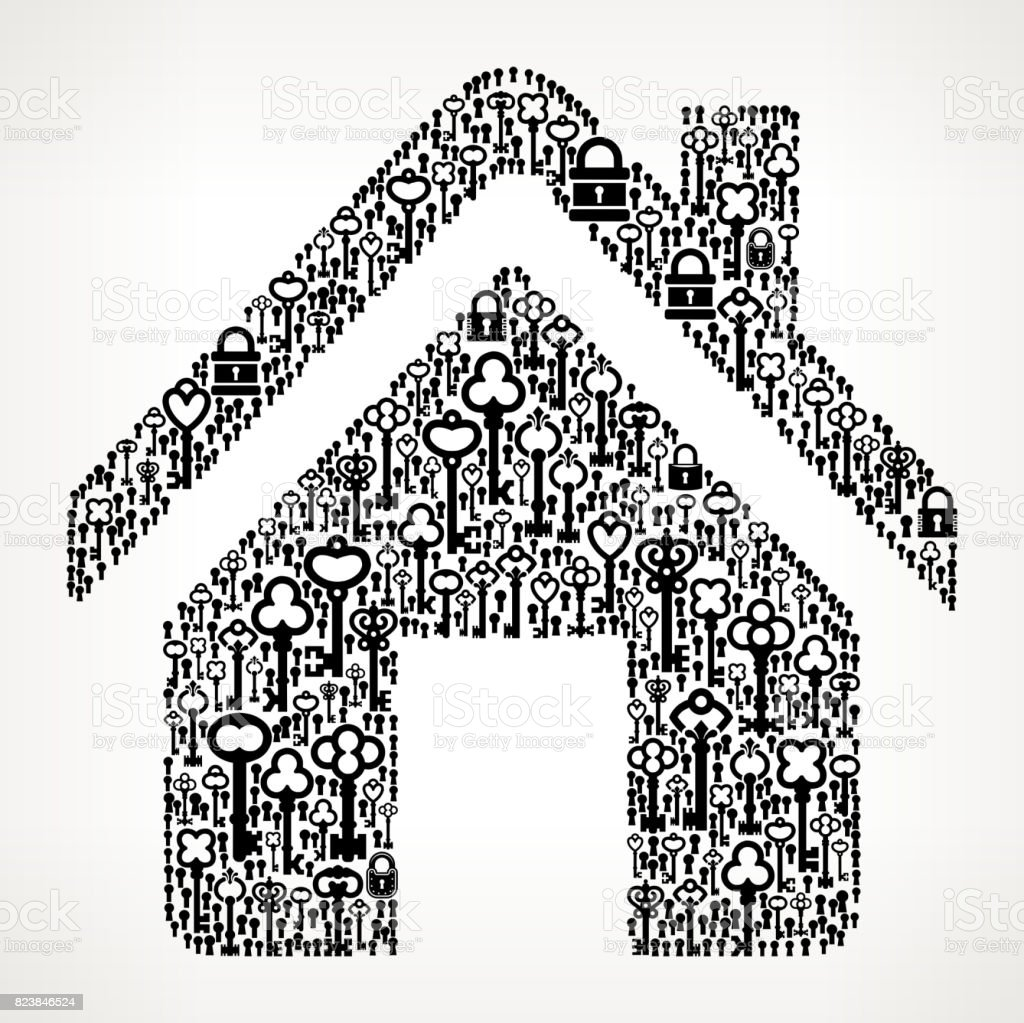 Home  Antique Keys Black and White Vector Pattern vector art illustration