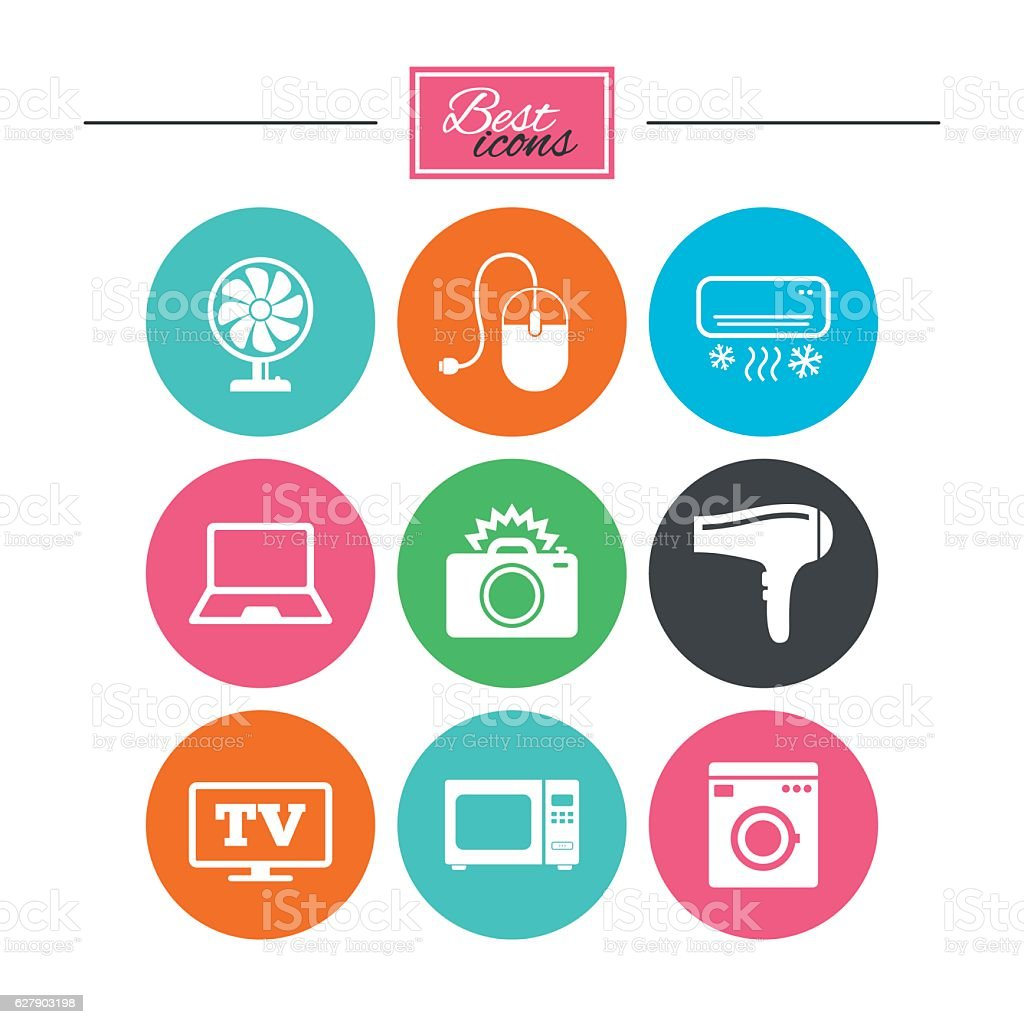 Home appliances, device icons. Electronics sign. vector art illustration
