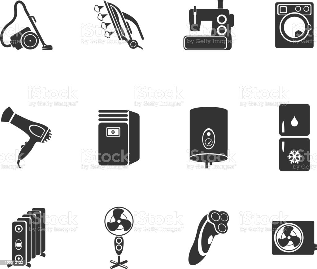 Home Appliances Icon Set vector art illustration