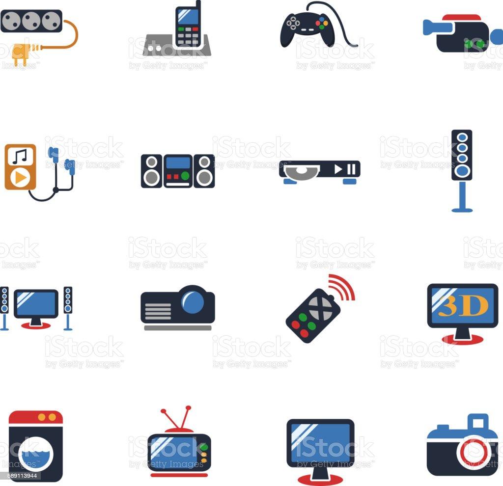 home appliances icon set vector art illustration