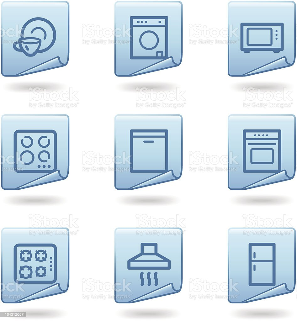 Home appliances icons, blue sticker series royalty-free stock vector art