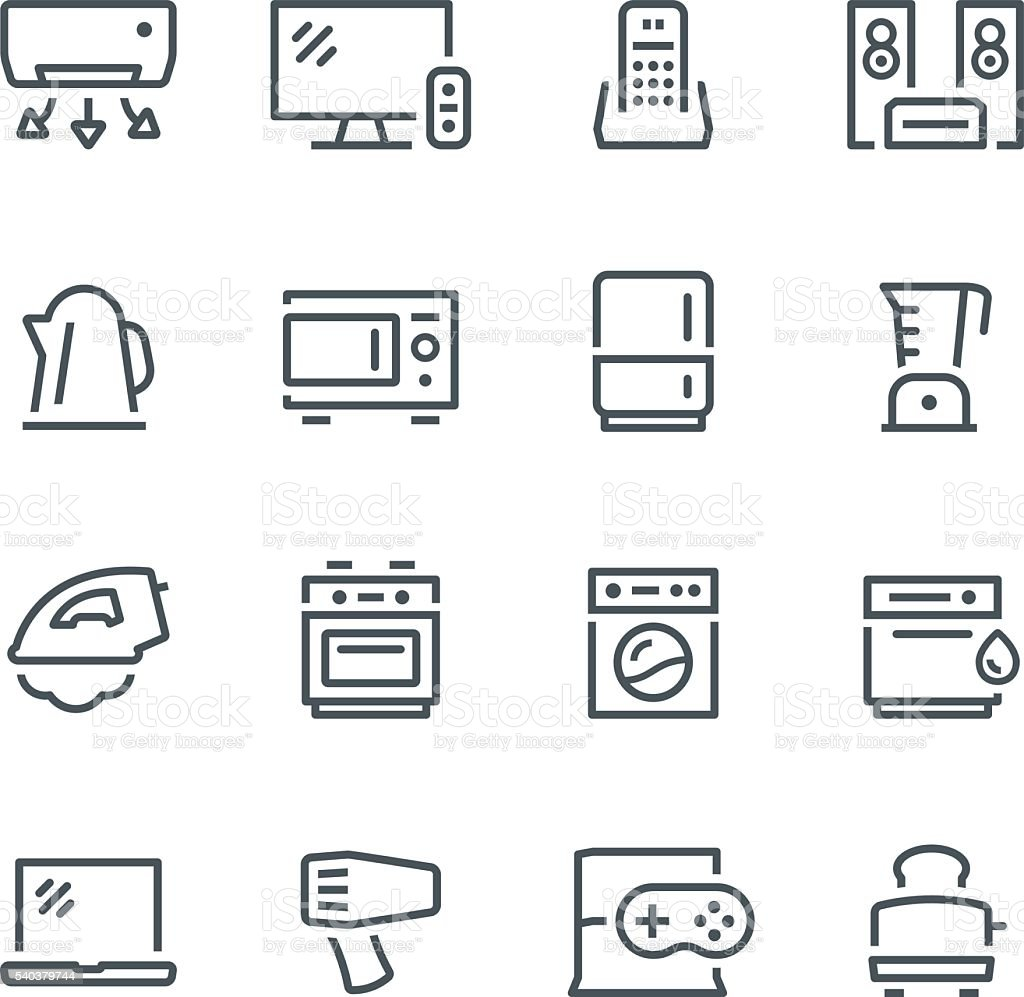 Home Appliances Icons vector art illustration