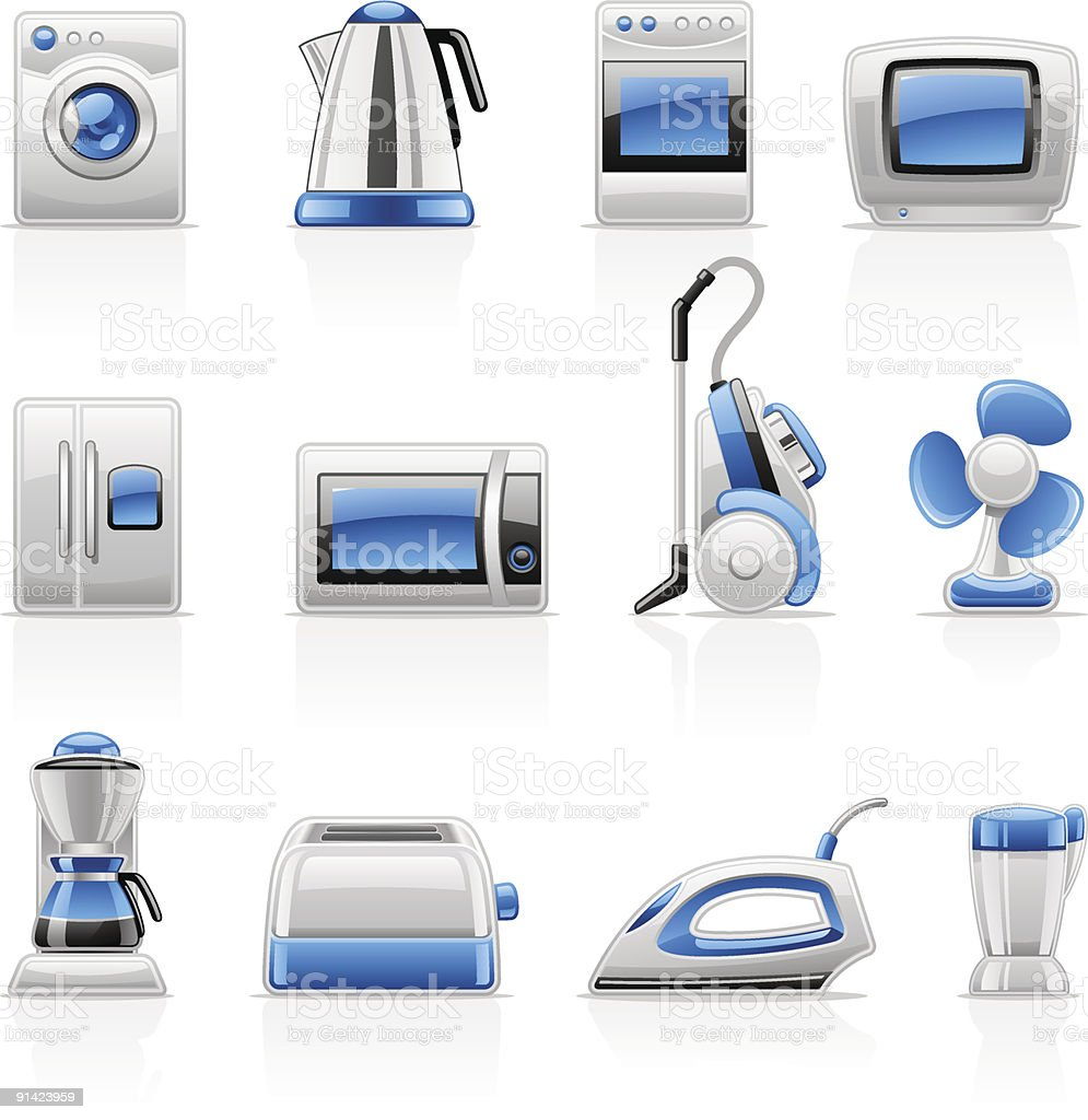 Home appliances icons: washing machine, microwave, TV, fan, iron, refrigerator. royalty-free stock vector art