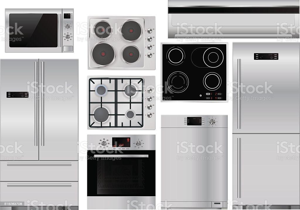 Home appliances: set of household kitchen equipment vector art illustration