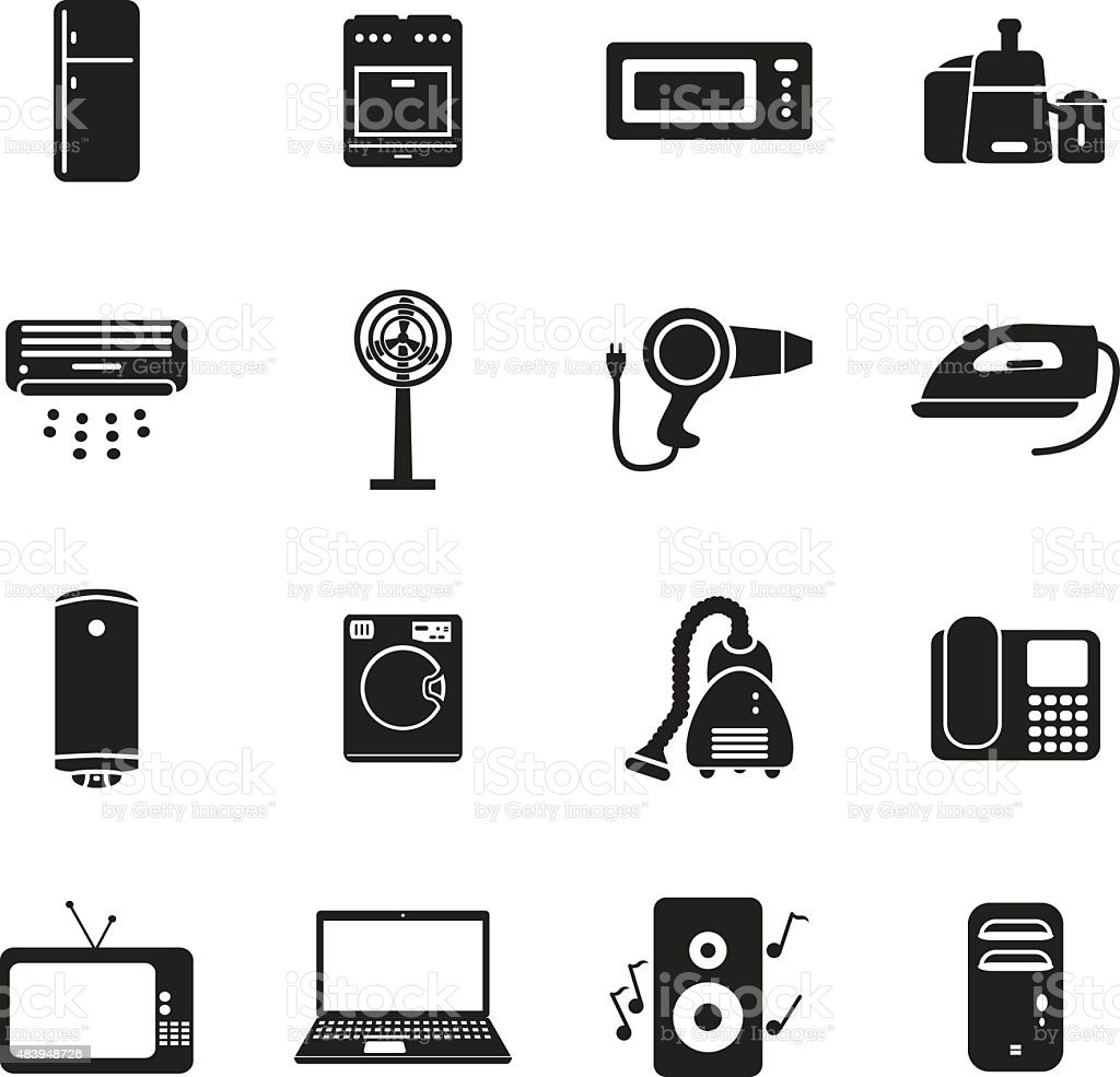 Home applience icon set vector art illustration