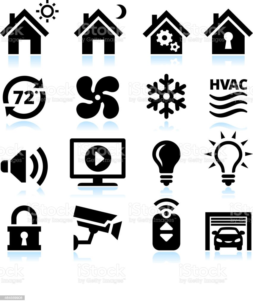 Home Automation and Security interface icons on White Background vector art illustration