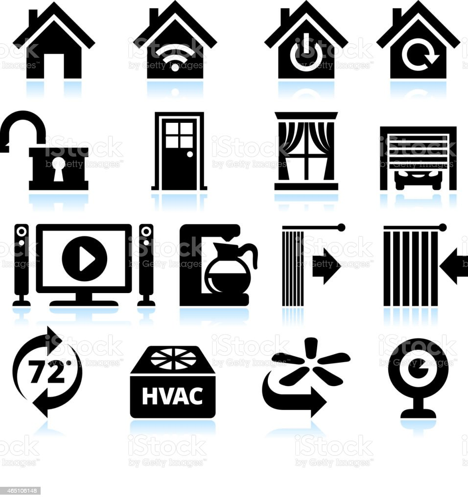 Home Automation Appliance and Security interface icons on White Background vector art illustration