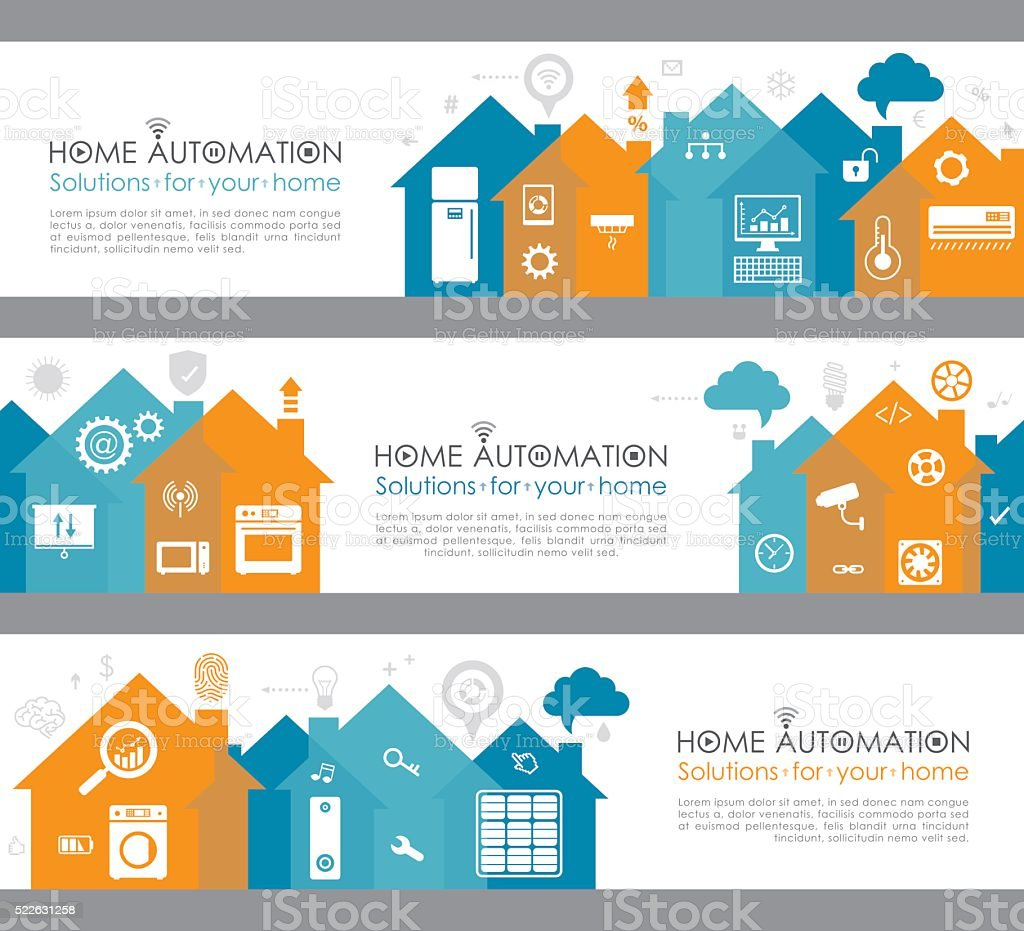 Home Automation Banners vector art illustration