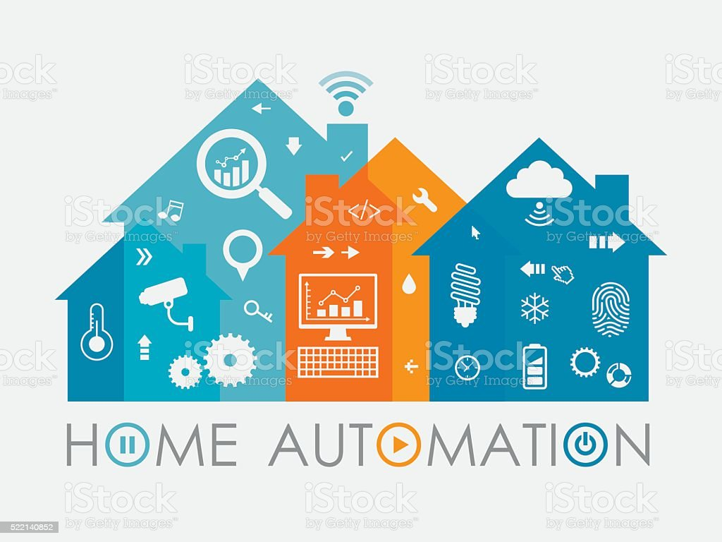 Home Automation Concept Including Icons Set vector art illustration