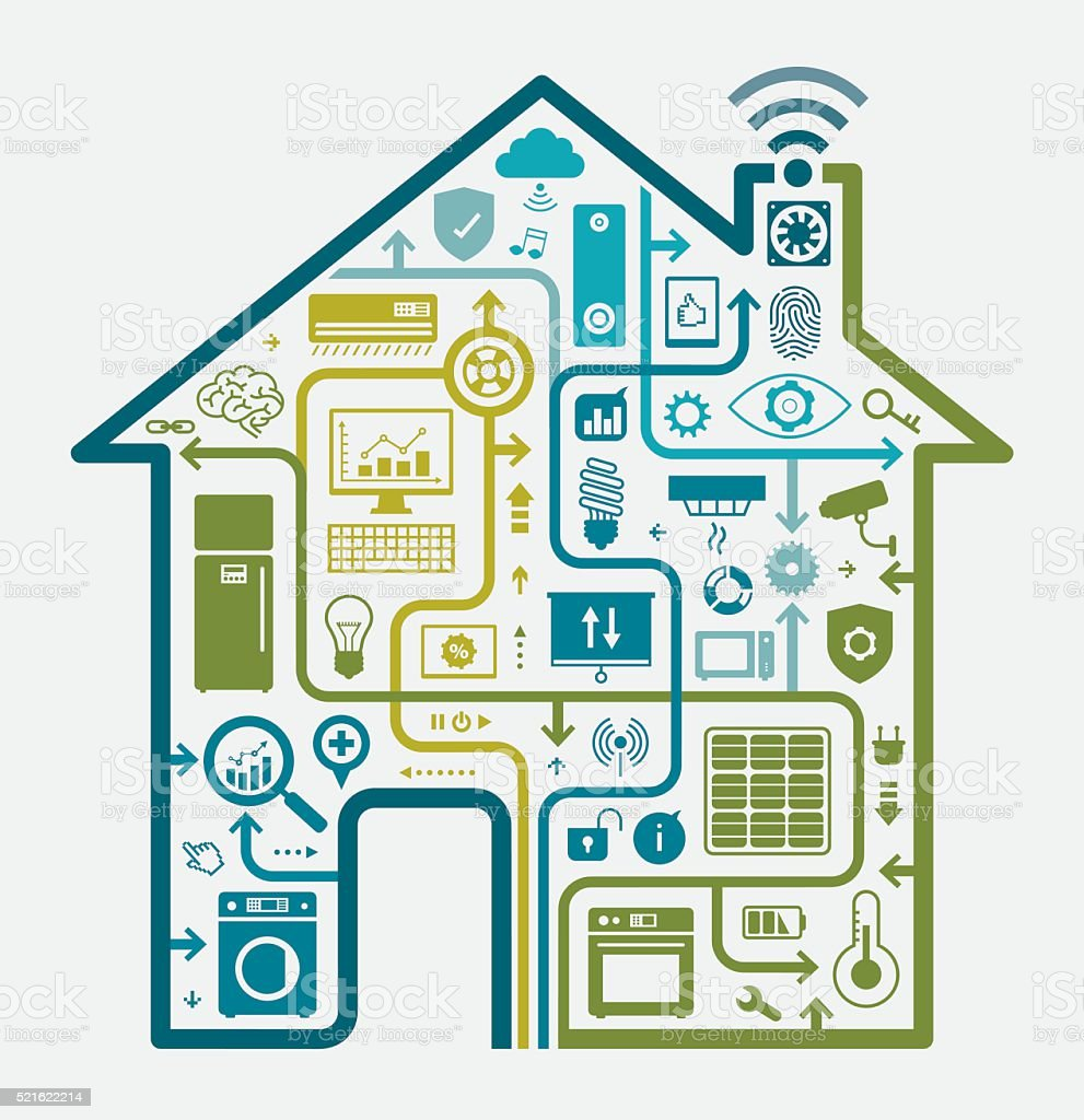 Home Automation Concept vector art illustration