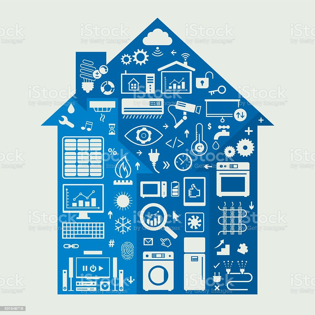 Home Automation Icons Set vector art illustration