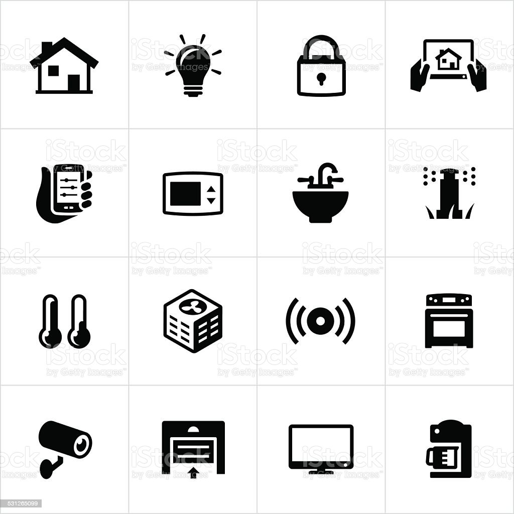 Home Automation Icons vector art illustration