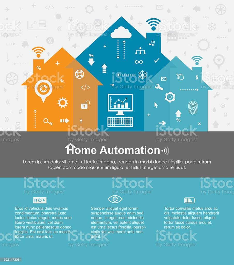 Home Automation Template With Copy Space Text vector art illustration