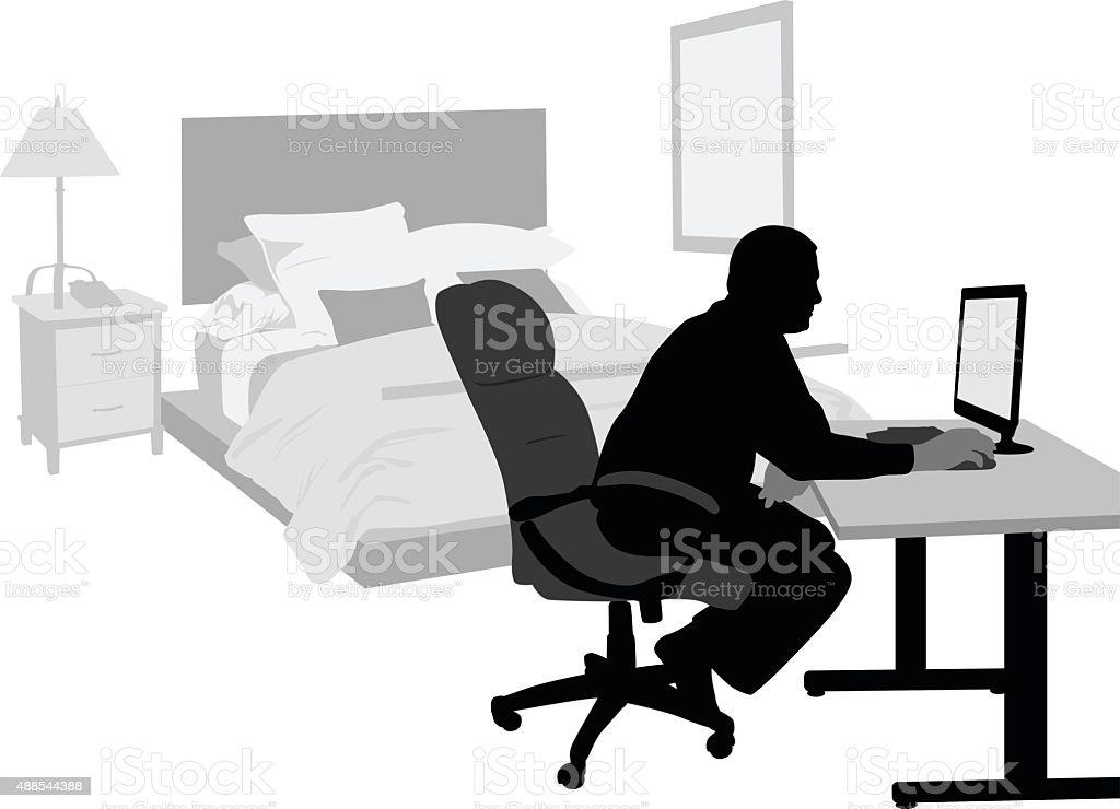 Home Bedroom Office vector art illustration